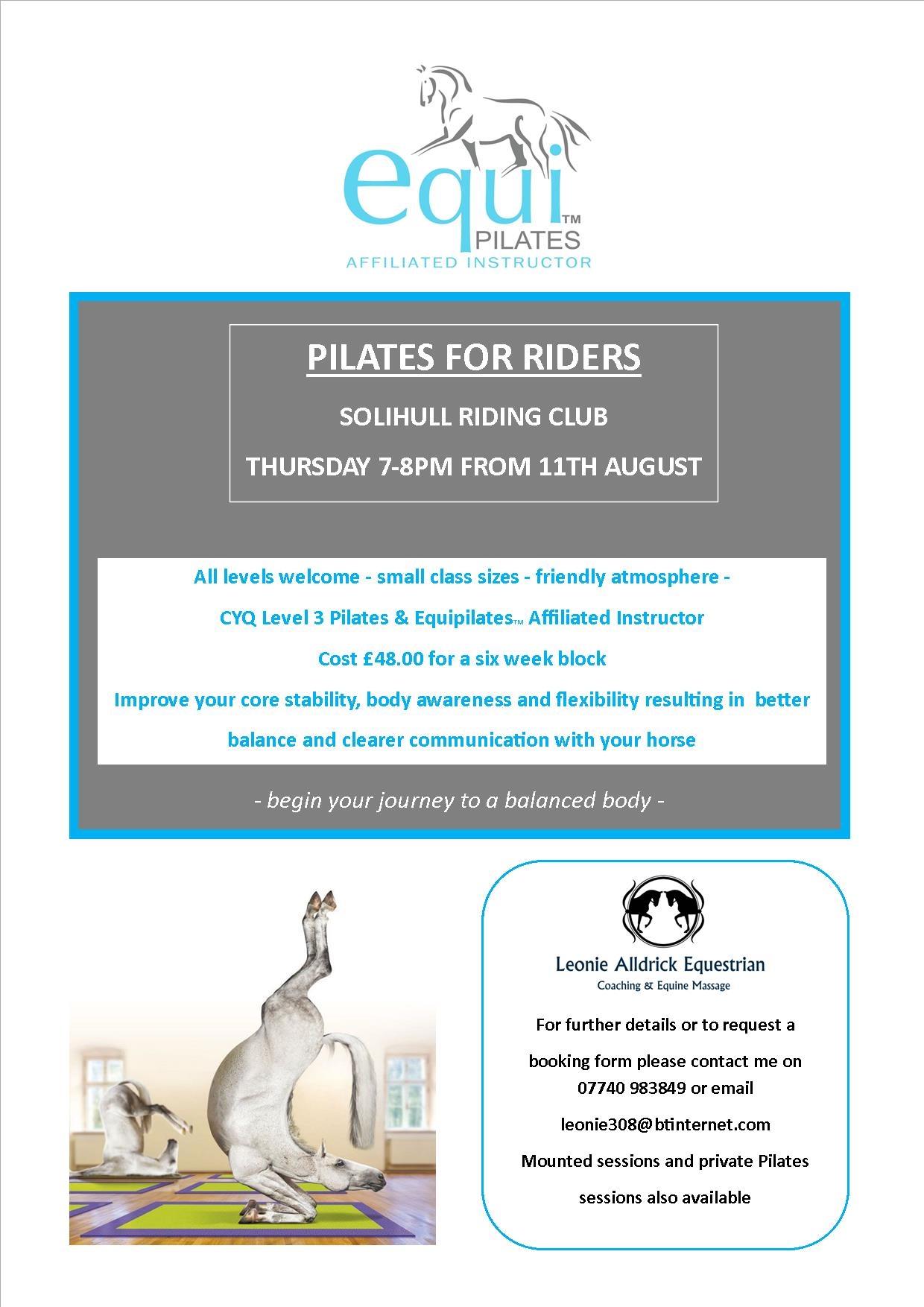 Pilates For Riders 6 Week Course Commences Solihull Riding Club